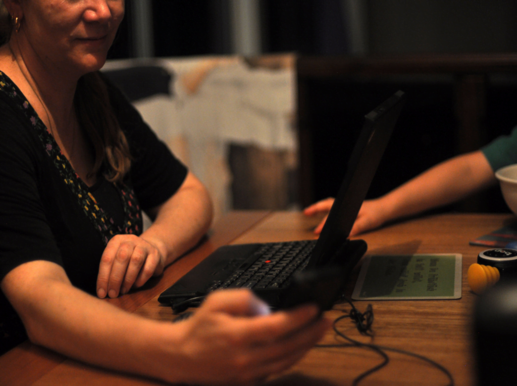 image closeup of a person typing on